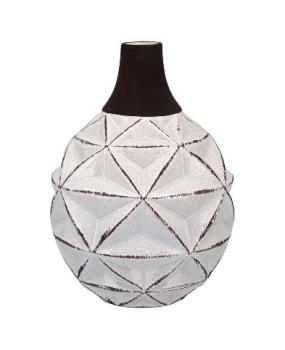 Garrafa Decorativa em Cerâmica Branco e Marrom Njoki 25cm - GS Internacional