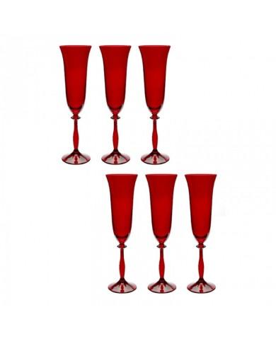 Taca Champanhe de Cristal Angela Vermelha Com 6 Peças 190ml - Bohemia