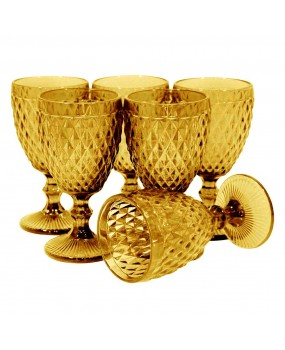 Taça Água de Vidro Topázio Âmbar Com 6 Peças 300ml - Dynasty